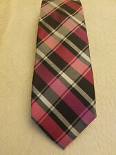 Mens Express Neck Tie Navy Blue White Pink Check