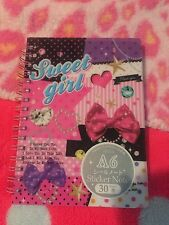 "Kawaii Sweet Girl Small 6"" Sticker Show Spiral Book W/Blank Pages Nice! New!"