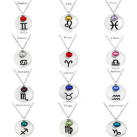 12 Constellations Signs Of The Zodiac Crystal Silver Pendant Birthstone Necklace