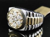 Mens 10K Two Tone Gold Round Cut White Cluster Diamond Designer Band Ring 1.0 Ct