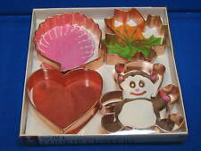 4 Set Cooper Large Cookie Cutters Baker's Advantage Roshco Heart Bear Shell Leaf
