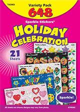 648 Sparkle stickers Holiday Celebrations school teacher reward Variety Pack