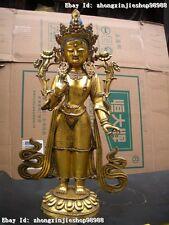 Tibet Buddhist Temple Bronze Gild Lotus Kwan-yin Bodhisattva Buddha Statue