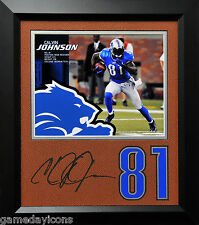 Calvin Johnson Lions #81 Laser Auto Signature Cut on a Football mat Framed 12x14