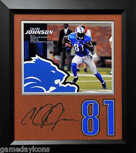Calvin Johnson Lions #81 Laser Auto Signature Cut on a Football mat Framed 12x14