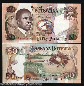 BOTSWANA 50 PULA P14 1992 6DIGIT BOAT KING FISHER ZEBRA FISH EAGLE UNC RARE NOTE