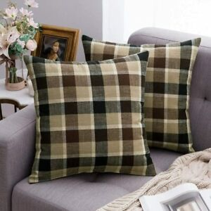 MIULEE Pack of 2 Decorative Throw Pillow Covers Checkered Plaids Tartan Cotton L
