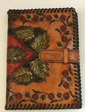 """Handmade Tooled Leather Photograph Frame Wallet Leaves Flowers Folded 6 7/8"""" Ht"""