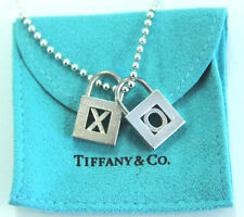 Estate Jewelry Sterling Silver Tiffany & Co. X-O Locks Pendants Necklace