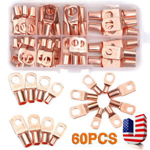 """Car Truck Boat Copper Battery Terminal Lugs Connection Kit Upto 2AWG 7/16"""" Ring"""