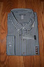 NWT Mens VAN HEUSEN Aqua Navy Checkered LS Dress Shirt Size 3XL XXXL 19 - 19 1/2