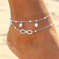 Women Double Chain Bracelet Ankle Anklet Barefoot Sandal Beach Foot Jewelry SE