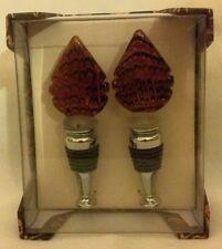 Nib Wild Eye Designs Wine Stop Set - Set Of Two Brown Glass Wine Bottle Stoppers