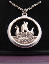 "Ola Gorie Jewellery Silver Viking Ship Pendant 20"" Chain Scottish"