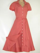 LAURA ASHLEY CORAL SUMMER LINEN CASUAL BUTTON-THROUGH BELTED SHIRT DAY DRESS,14