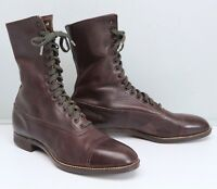 VTG 1920s Poll-Parrot Childrens 4Y Boots Brown Leather Youth Size Deadstock Shoe