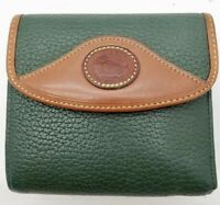 Vintage Dooney Bourke All Weather Leather AWL Bifold Wallet GREEN Kiss Lock ID