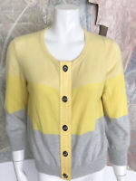 Coach Yellow Grey Colorblock 100% Cashmere Toggle Cardigan Sweater Size Large