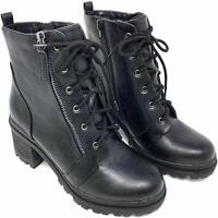 Soda Boots Women's Black Low Faux Leather Chunky Heel  Ankle Booties