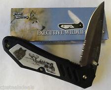 "Executive Wildlife Series ""Wolf"" Pocket Knife Scrimshaw"