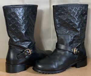 Louis Vuitton LV Black Leather Women's Boots Embossed Monogram Shoes Sz.37/7