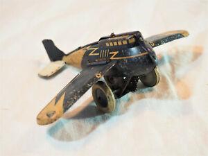 JOUET ANCIEN mécanique en tôle - avion ailes pliantes Johann Distler - plane