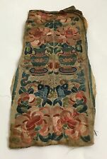 antique chinese qing dynasty embroidered forbidden stitch silk sleeve bands cuff
