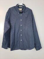 Eddie Bauer Mens Button Down Shirt Size XL Blue Plaid Wrinkle Resistant Long Slv