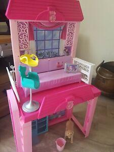 Barbie chelsea house inc. 2 chairs, Barbie TV, Barbies Dog, pink bucket & brush.