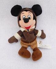 "Disney Store Pilot Mickey Mouse 9"" Mini Bean Bag Plush Brown Jacket Stuffed Toy"
