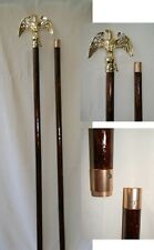 8 Foot Glossy Wood Indoor Flagpole Flag Pole Kit Eagle Topper w/ Gold Base