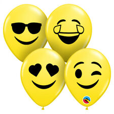 """EMOTICON PARTY SUPPLIES 50 X 5"""" QUALATEX EMOJI FACE YELLOW MODELLING BALLOONS"""