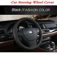 Universal Black & Red Stitching PU Leather Car Steering Wheel Cover  38cm 15inch