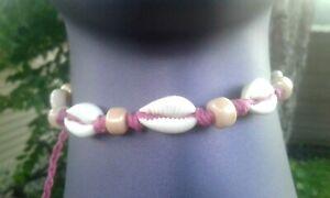 Cowry Cowrie Shell Hemp Anklet Handmade Glass Beads Pink Macrame Ankle Bracelet