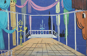 Vintage theater stage design gouache drawing