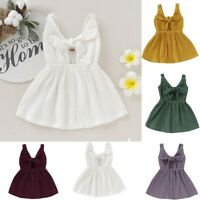 Toddler Kids Baby Girl Solid Simple Sleeveless Straps Bow Button Princess Dress