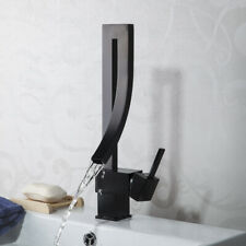 Deck Mounted Black Waterfall Spout Bathroom Basin Vessel Sink Mixer Faucet Taps