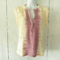 New YFB Young Fabulous & Broke Top S Small Pink Tie Dye Split V Neck Linen