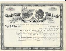 BLACKBEAR-WAR EAGLE GOLD MINES INC....(WASHINGTON)...UNISSUED STOCK CERTIFICATE