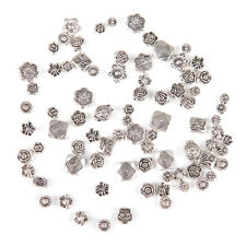 80Pcs Lot Tibet Silver Flower Mixed Spacer Beads For DIY Bracelet Jewelry yu