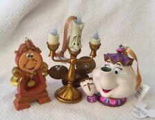 Disney Parks Beauty and the Beast Cogsworth Lumiere Potts Figural Ornament Set