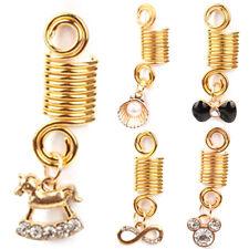 5 Pcs Metal Hair Braid Dreadlock Beads Cuffs Clips Braid Spiral Jewelry Decor *