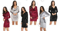 Womens Cocktail Velvet side Lace Ladies Evening Party Long Sleeve Dress