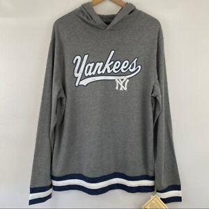 MLB New York NY Yankees Men's Gray Hoodie Long Sleeve Stripe Sleeve Hooded Shirt