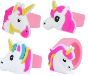 4 UNICORN RINGS rainbow toy Party Bags Filler gift kids reward jewellery