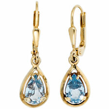Earrings with Spinel Light Blue Drop 333 Yellow Gold Gold Earrings