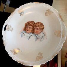 Antique Children Boy and Girl Sandwich Tray/Cake Plate Nursery Room
