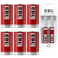 EBL 750mAh 16340 Battery Rechargeable 3.7V Li-ion CR123A + USB Batteries Charger