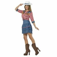 Ladies 80s Wild West Rodeo Doll Cowgirl Texan Dolly Fancy Dress Retro Costume