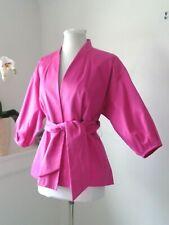 NATORI Jacket Hot Pink Belted Kimono Style 100% Cotton XS Natorius